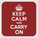 Maroon Keep Calm and Carry On Stickers