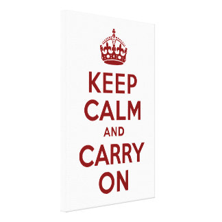Maroon Keep Calm and Carry On Wrapped Canvas