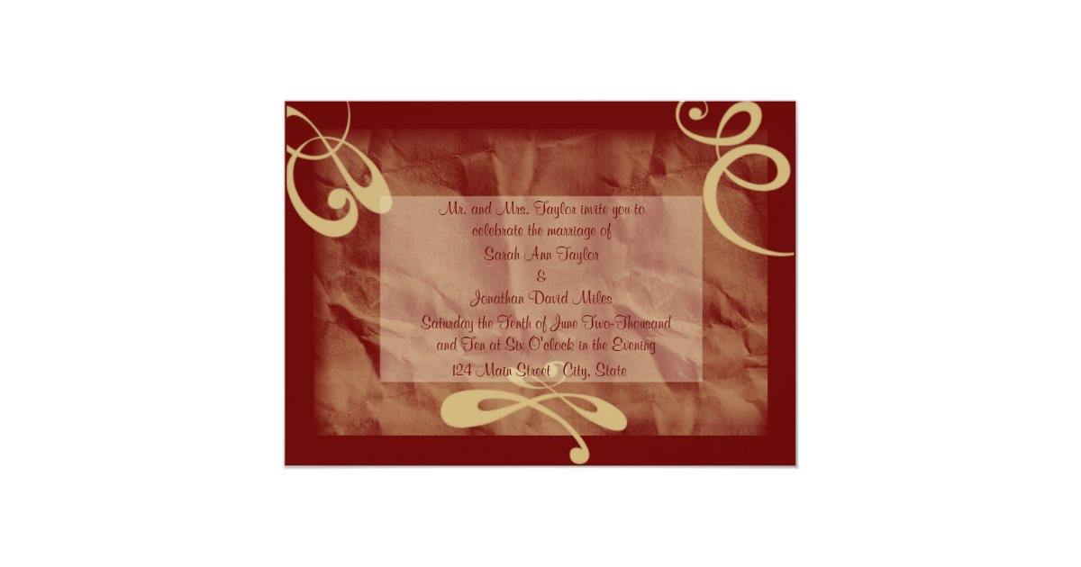 Textured Paper For Wedding Invitations: Maroon/Khaki Textured Wedding Invitation