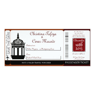 Maroon Lantern Boarding Pass Wedding Invitation