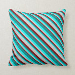 [ Thumbnail: Maroon, Light Gray, Cyan & Dark Cyan Colored Throw Pillow ]