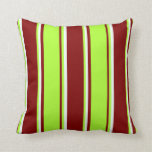 [ Thumbnail: Maroon, Light Green, and Mint Cream Pattern Pillow ]