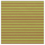 [ Thumbnail: Maroon & Light Green Colored Lines Pattern Fabric ]