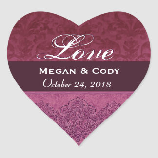 Maroon Love Bride and Groom Date V07 Heart Sticker