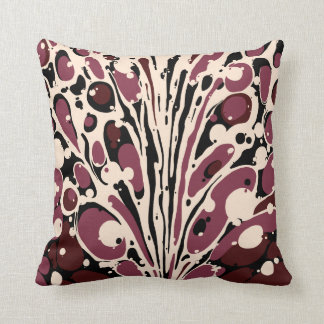 Maroon Marbled Throw Pillow