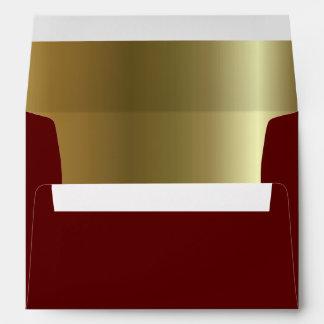 Maroon Metallic Golden Inside A7 Envelope