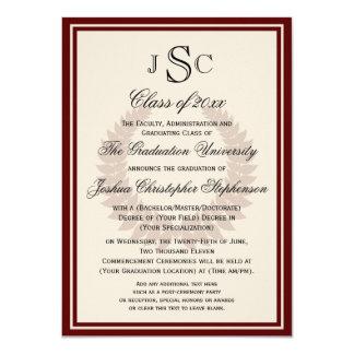 Maroon Monogram Laurel Classic College Graduation 4.5x6.25 Paper Invitation Card
