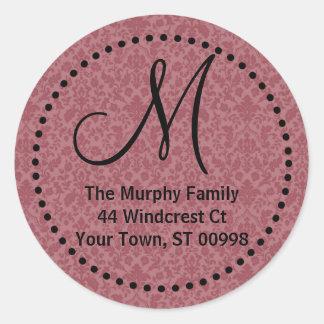 Maroon monogram return address label (#LABL 014) Classic Round Sticker