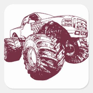 Maroon Monster Truck Square Sticker