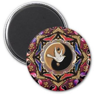 Maroon Moon Mandala Fridge Magnets