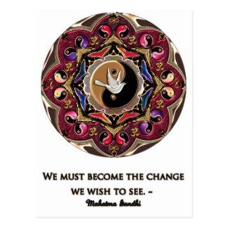 Maroon Moon Mandala Postcard