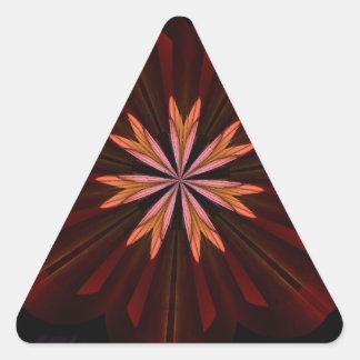 Maroon Orange Purple Flower Fractal Art Gifts Triangle Sticker