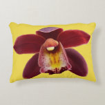 Maroon Orchids I Beautiful Red Floral Decorative Pillow