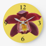 Maroon Orchids I Beautiful Red Floral Large Clock