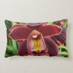 Maroon Orchids I Beautiful Red Floral Lumbar Pillow