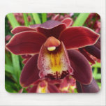 Maroon Orchids I Beautiful Red Floral Mouse Pad