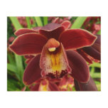 Maroon Orchids I Beautiful Red Floral Wood Wall Art