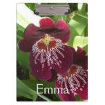 Maroon Orchids II Elegant Floral Clipboard