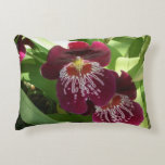 Maroon Orchids II Elegant Floral Decorative Pillow