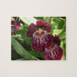 Maroon Orchids II Elegant Floral Jigsaw Puzzle