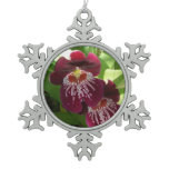 Maroon Orchids II Elegant Floral Snowflake Pewter Christmas Ornament