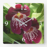 Maroon Orchids II Elegant Floral Square Wall Clock