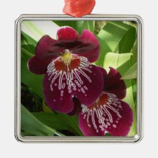 Maroon Orchids II Metal Ornament