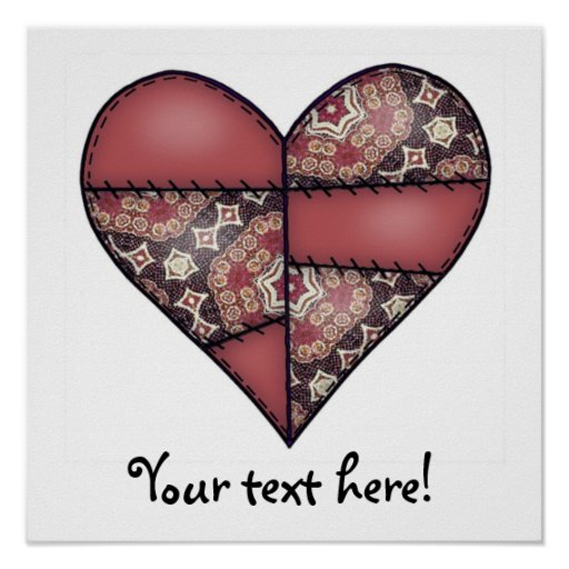 Maroon Padded Quilted Stitched Heart 03 Poster