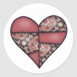 Maroon Padded Quilted Stitched Heart 03 Sticker