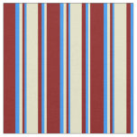 [ Thumbnail: Maroon, Pale Goldenrod & Blue Colored Pattern Fabric ]