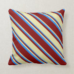 [ Thumbnail: Maroon, Pale Goldenrod & Blue Colored Pattern Throw Pillow ]