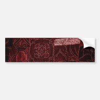 Maroon Patchwork Fabric Texture Bumper Sticker