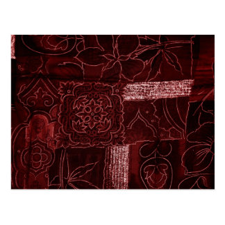 Maroon Patchwork Fabric Texture Postcards