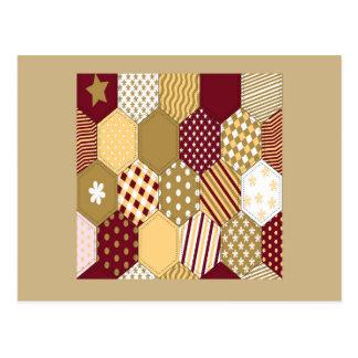 Maroon Pattern Squares Postcard