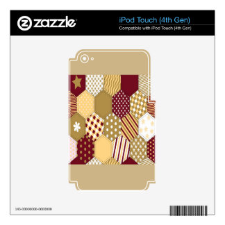 Maroon Pattern Squares iPod Touch 4G Skins