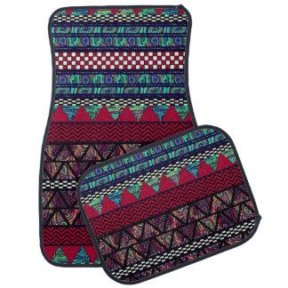 Maroon Peacock Boho Tribal Stripes Pattern Car Floor Mat