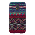 Maroon Peacock Boho Tribal Stripes Pattern Galaxy S5 Cover
