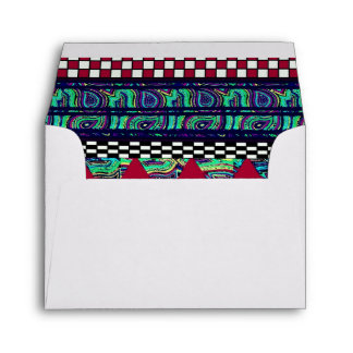 Maroon Peacock Boho Tribal Stripes Pattern Envelope