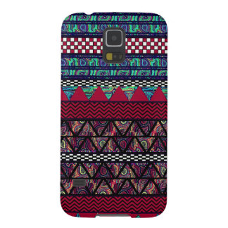 Maroon Peacock Boho Tribal Stripes Pattern Galaxy S5 Cover