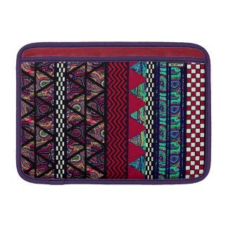 Maroon Peacock Boho Tribal Stripes Pattern MacBook Air Sleeve