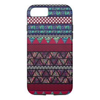 Maroon Peacock Boho Tribal Stripes Pattern iPhone 7 Case