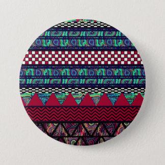 Maroon Peacock Boho Tribal Stripes Pattern Pinback Button