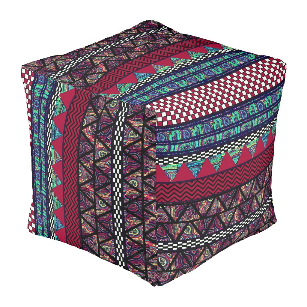Maroon Peacock Boho Tribal Stripes Pattern Pouf