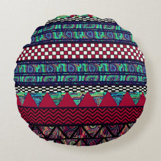 Maroon Peacock Boho Tribal Stripes Pattern Round Pillow