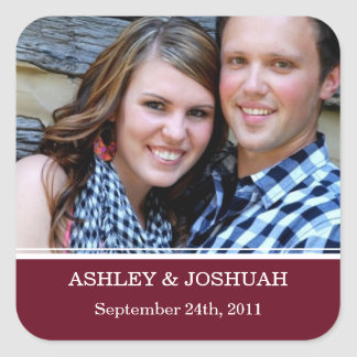 Maroon Photo Save The Date Stickers