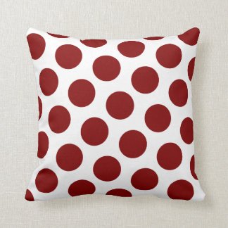 Maroon Polka Dot Pattern Throw Pillow