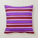 [ Thumbnail: Maroon, Purple, Light Cyan, and Violet Lines Throw Pillow ]
