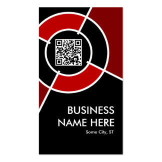 maroon QR code and logo target Double-Sided Standard Business Cards (Pack Of 100)