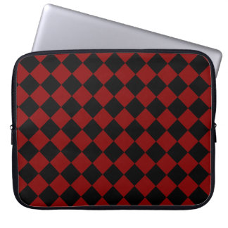 Maroon Red and Black Diagonal Checkerboard Design Laptop Computer Sleeves