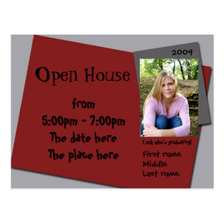 maroon (red) and grey open house invitation postcard